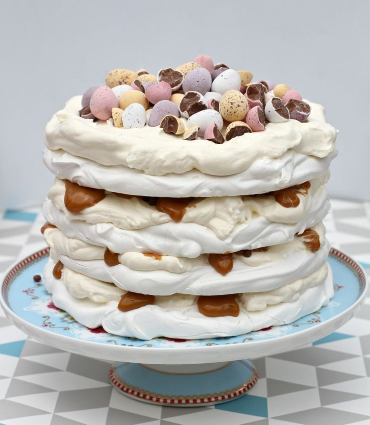 Scrumptious-looking Easter Mini Egg Caramel Pavlova from madewithpink.com
