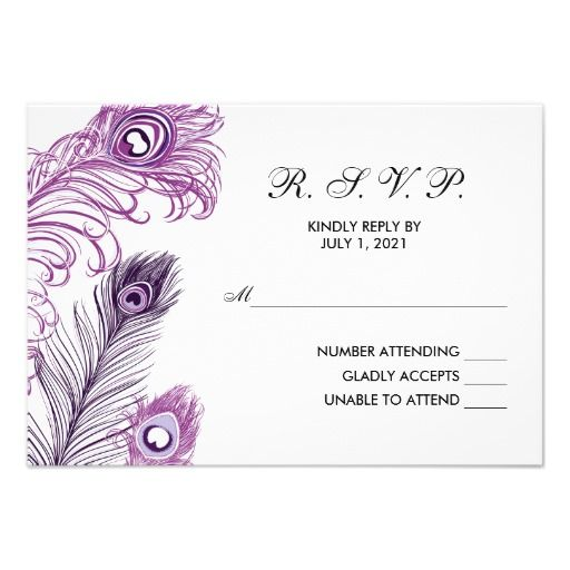 Purple Peacock Feathers RSVP wedding reply card
