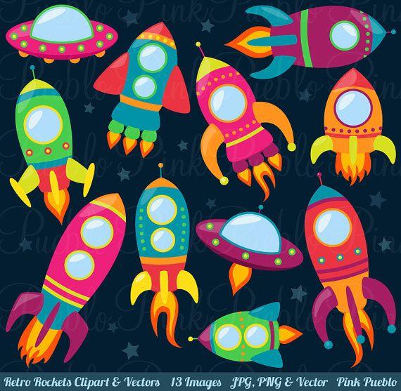 Retro Rockets Clip Art Clipart Spaceship Rocketship by PinkPueblo
