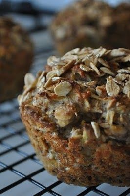 Super Healthy Muffins - Apples Under My Bed  I would just sub the buttermilk for almond milk, and just add oats for the topping to make these perfectly healthy!