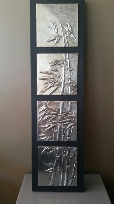 Bamboo in pewter on canvas by Debbie @pewterstudio