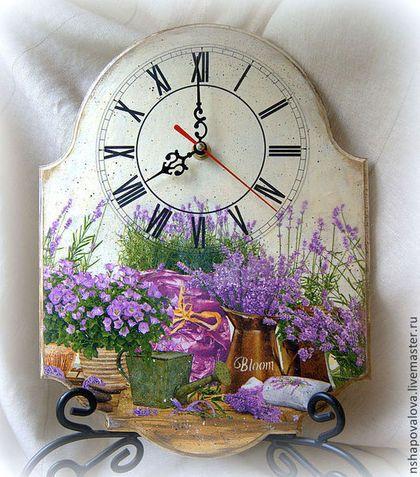 """Часы для дома ручной работы. Ярмарка Мастеров - ручная работа Часы """"Лавандовый сад"""". Handmade."""