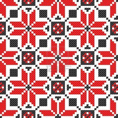 seamless embroidered good like handmade cross-stitch ethnic Ukraine pattern Stock Photo - 8949235