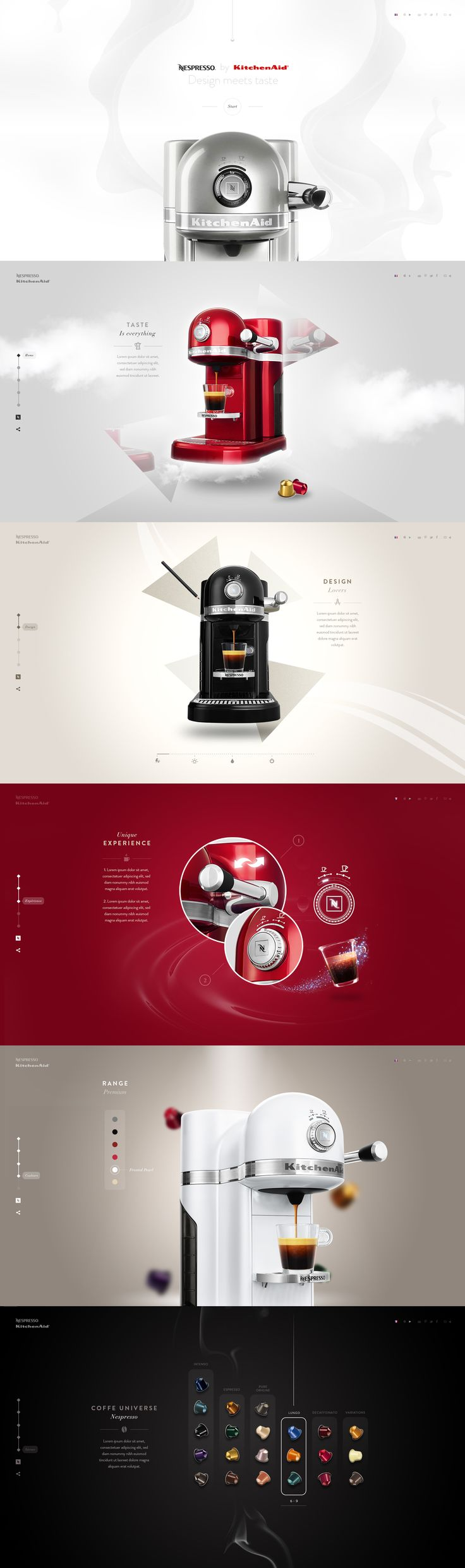 Nespresso by Kitchenaid - Webdesign by Steve Fraschini - https://dribbble.com/shots/1923979-Nespresso-by-Kitchenaid-Website?list=users&offset=0