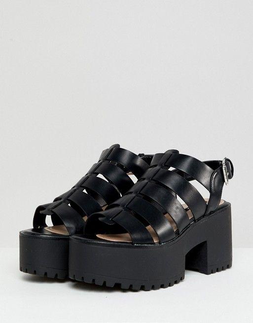 b71eec51ce0 Pull Bear multi strap block heel in black