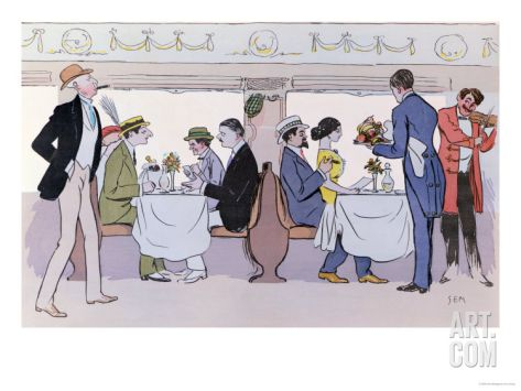 Restaurant Car in the Paris to Nice Train, 1913 Giclee Print by Sem at Art.com