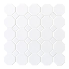 American Olean 12-in x 12-in Sausalito White White Ceramic Mosaic Wall Tile.   This is the tile I would recommend for your bathrooms.  It looks gorgeous with a dark gray grout!