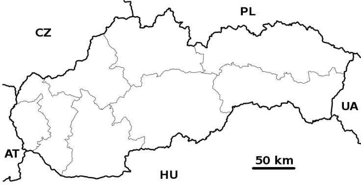Mapa SR + susedia