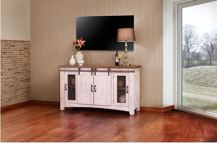 "International Furniture Direct Pueblo 60"" White TV Console - Item Number: IFDI-IFD360STAND-60"