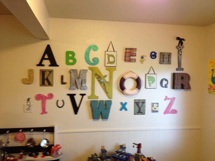 Assorted Letters Displayed On Playroom Wall Find Letters