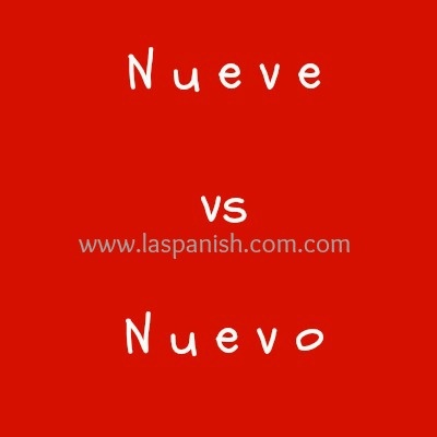 "Nueve & Nuevo are commonly confused by Spanish language learners because of the similarities in the phonetic.  Here is the difference between them:  While ""Nueve"" means number ""9"", ""Nuevo"" is the Spanish version of the adjective ""New"" in masculine form, so you can find the word ""Nueva"" for ""New"" in feminine form, and ""Nuevos"", & ""Nuevas"" if we want to express them in plural.  Examples using the with the word "" Nueve""... more on Nueve vs Nuevo  and excercises @ http://laspanish.com/las-blog/"
