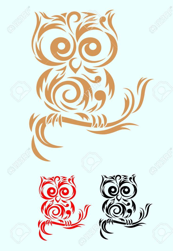 Owls tribal tattoo