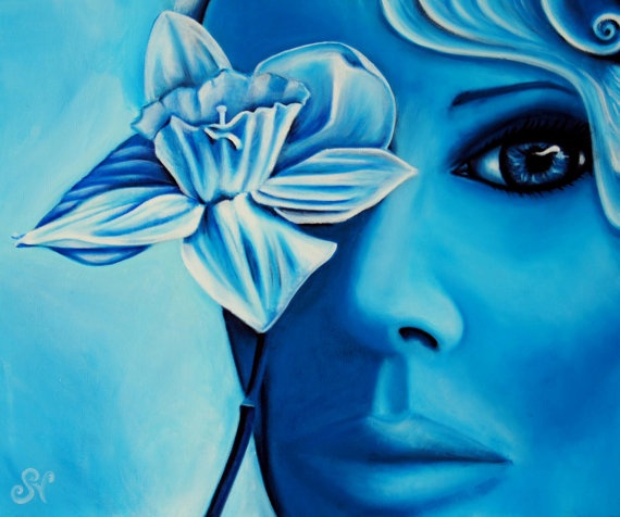 Spring Cleaning SALE- Original Art oil painting of woman in blue, with flower.30% OFF By SVillenaveArt