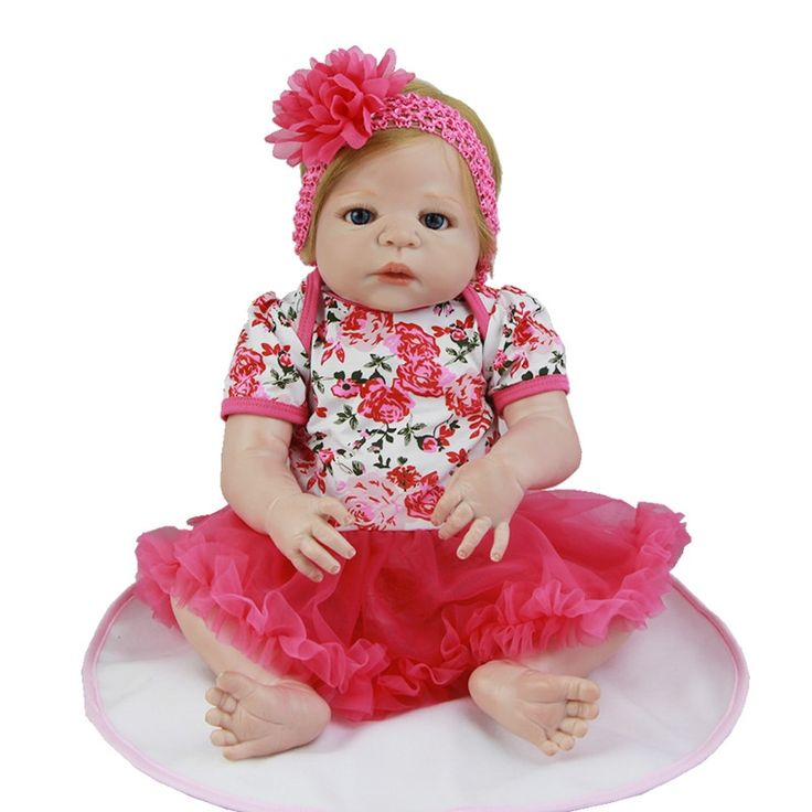 125.25$  Buy now - http://alib13.worldwells.pw/go.php?t=32788078209 - Blond Real Human Hair Girl Baby Doll 23 Inch Full Silicone Vinyl Realistic Babies Lifelike Dolls Toy With Rose Dress For Sale