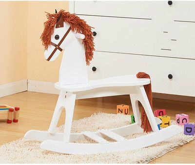 Wooden rocking horse horse baby rocking fancy toy rocking horse strong environmental protection