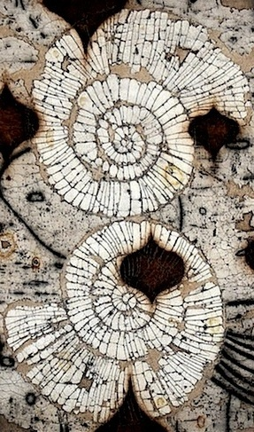 Eric Gonzales | 'Gemini' He creates paintings of organic structures etched within grids of mixed media surfaces composed of rich dried pigments, clay and powdered marble.
