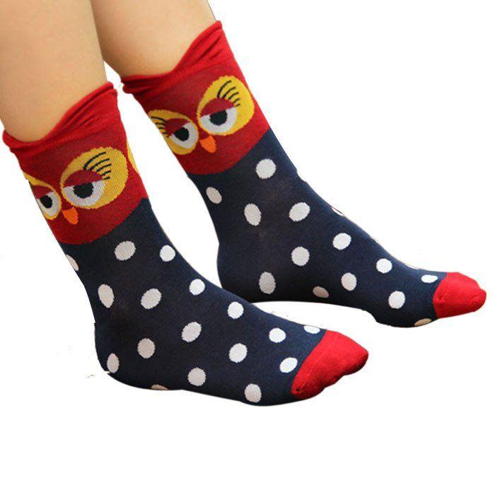 Moonlight Owl Socks (B) #Blue #Red