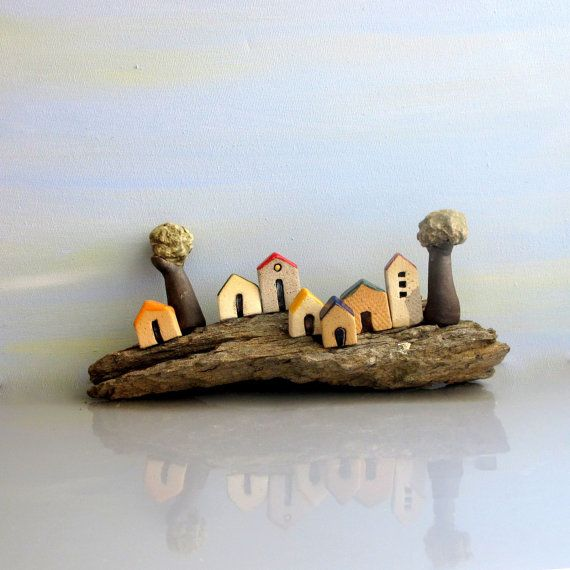 Ceramics and pottery sculpture , handmade sculpture  / ceramic sculpture , miniature houses on a Medeterranean Quartz stone / one of a kind