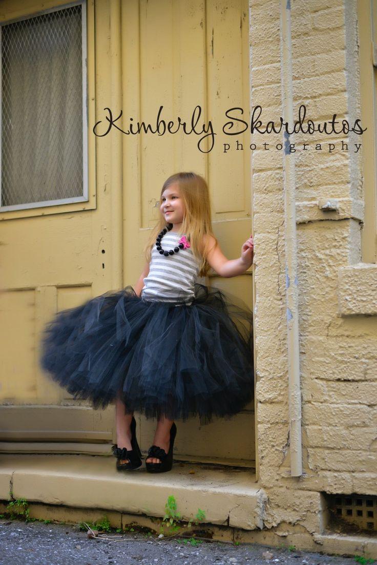 Black flower girl tutu skirt, tea length with satin ribbon tie.