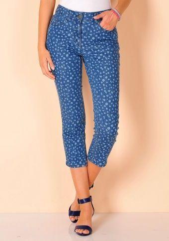 3/4 džíny s potiskem květů #ModinoCZ  #trousers #jeans #print #flowers #fashion #kalhoty #džíny #květy #potisk #blue #modrá