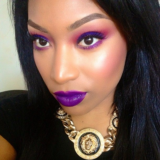 Purple Bridal Makeup For Dark Skin : Rich purple makeup on dark skin. #BeautyTalk Pinterest
