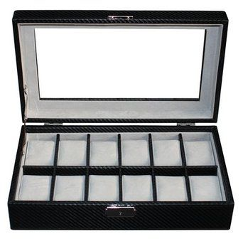 Luxury Black carbon fiber leather watch box display Watches case 12 watches  $85.95  Size: 325*190*80 mm Elegant design with black imitation carbon fiber leather finished Pillow size 45x70mm Store up to 12 watches Crystal Clear acrylic top brilliant Soft gray velvet