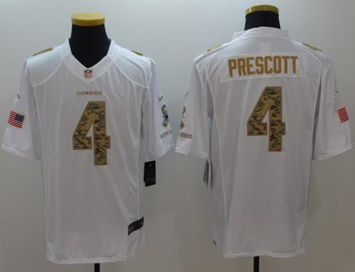 ... Nike Cowboys 4 Dak Prescott White Mens Stitched NFL Limited Salute To  Service Jersey ... 7a69f0016