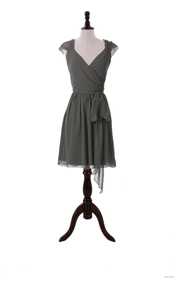 bridal dresses Simple Capped Sleeve Chiffon Dress With Self Belt $110.98