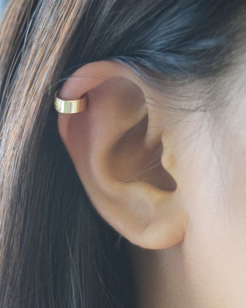 Ear Cuff by Olive Yew. A simple but elegant ear cuff. This thick handmade cuff earring is available in gold, rose gold or silver and is to be worn on the helix/cartilage area of ear.