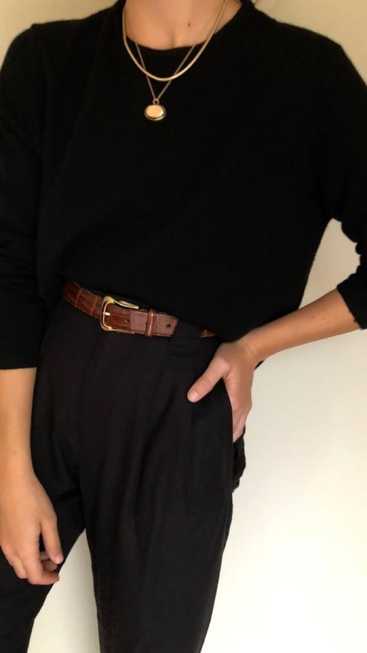 All black with brown belt detailing, smart casual outfit inspo, casual… | #Wo…