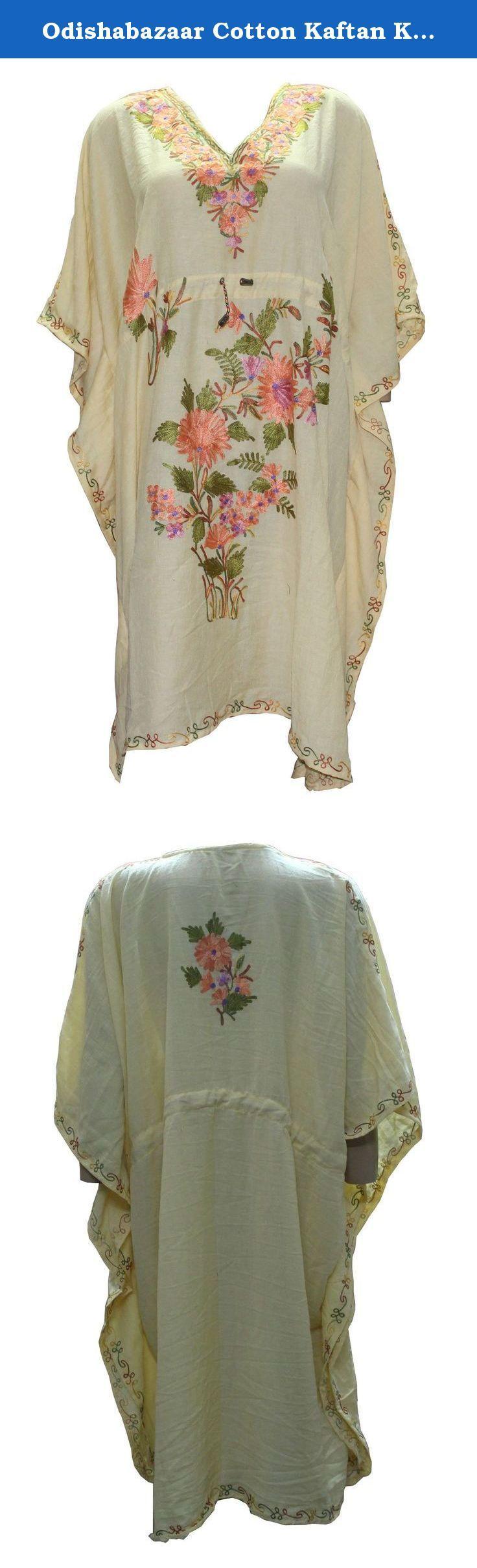 Odishabazaar Cotton Kaftan Kashmiri Embroidered Short Length Dress for Women (multi-9). Short length Kashmiri Kaftan/lounge wear/beach wear/ Sort dress with Ari Embroidered Flowers.