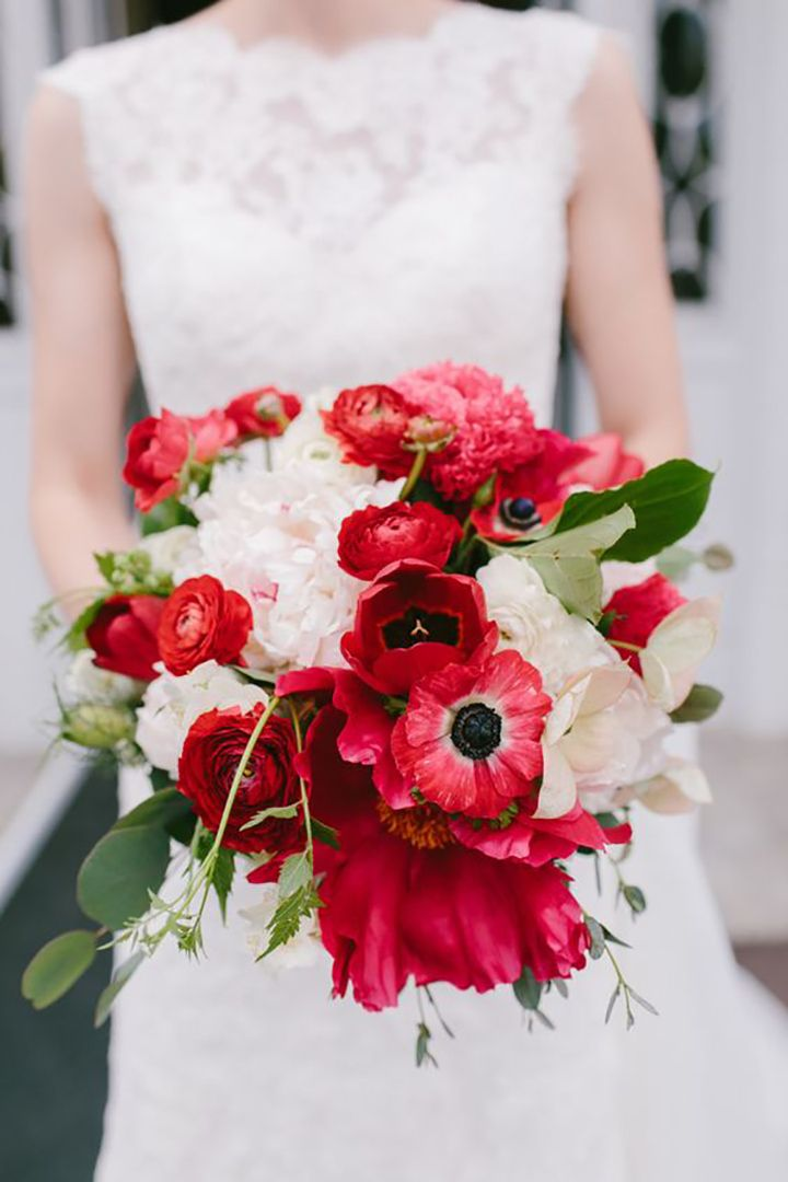 Gorgeous red and white bouquet with anemones, peonies and ranunculus ~ we ❤ this! moncheribridals.com
