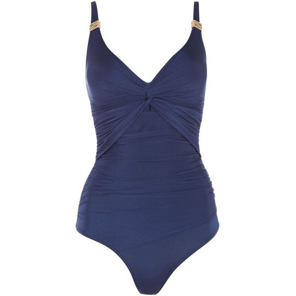 Biba Goddess Twist Swimsuit ($80) ❤ liked on Polyvore featuring swimwear, one-piece swimsuits, navy, women, navy blue swimsuit, navy one piece swimsuit, bathing suit swimwear, tummy control swimwear and navy blue swim suit