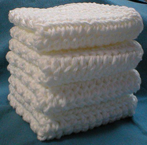 Handmade Crochet Cotton Washcloths Dishcloths (Set of 4) White