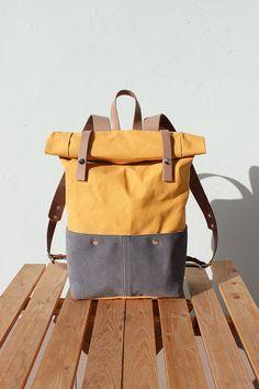 Wuchs Canvas Rucksack Rolltop mit Beige Lederdetails, Waxed Canvas Rucksack Roll Top, gelb