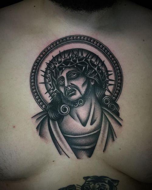Traditional Jesus Tattoo Flash