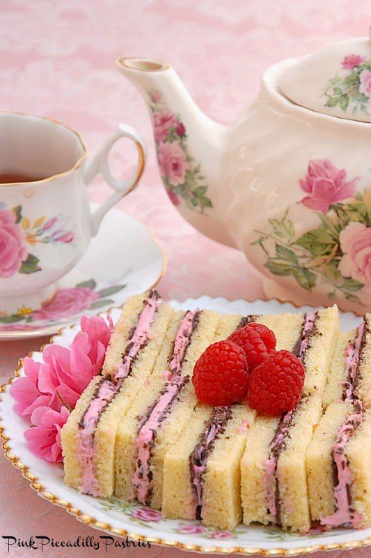 These sweet chocolate raspberry pound cake tea sandwiches serve melted chocolate and raspberry filling between pound cake, so they're pretty much the perfect pairing for your favorite tea.