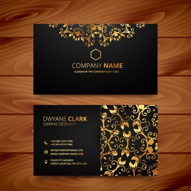 Cartão de visita de luxo com ornamentos de ouro Vetor grátis