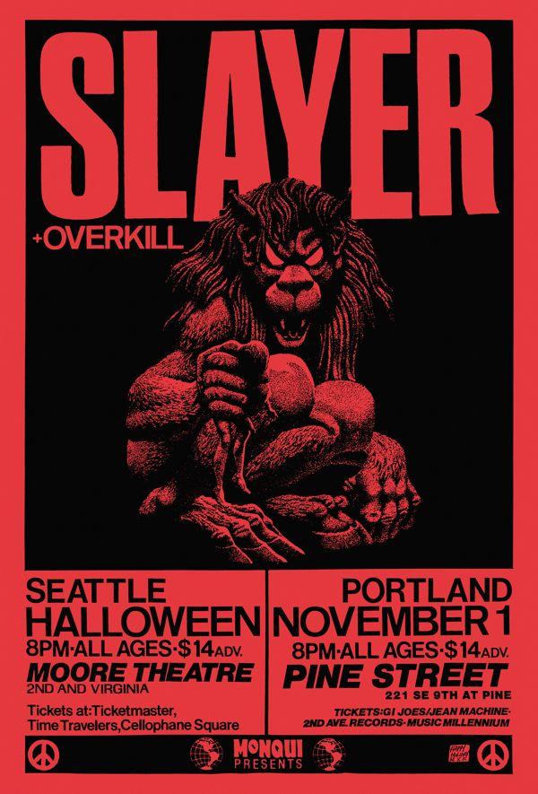 Portland Halloween 2020 Concert Slayer & Overkill in 2020   Concert poster art, Slayer, Poster