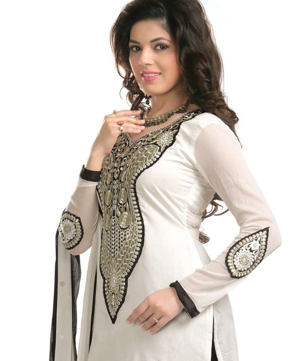 http://www.istyle99.com/Dress-Material/White-And-Black-Chanderi-Cotton-Embroidered-Party-Wear-Unstitched-Dress-6675.html White And Black Chanderi Cotton Embroidered Party Wear Unstitched Dress @ Rs949.00 Stitch Type: Unstitched Occassion Type: Party Wear Colour: White,Black Top Fabric: Chanderi Cotton Bottom Fabric: Semi Santoon Dupatta Fabric: Nazmeen Work Style: Embroidered Style Type: Patiyala Suit Top Size: 2.3 MTR Bottom Size: 2 MTR Dupatta Size: 2.25 MTR