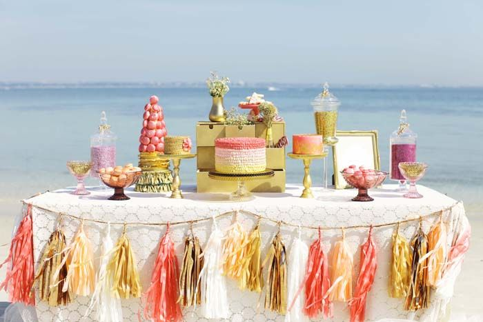 All That Glitters ~ Dessert Feature ~ Amy Atlas. Click on the image for close-ups and all the dreamy details!: Christmas Desserts, Sweet, Color, Desserts Bar, Parties Ideas, Desserts Tables, Beaches Wedding, Tables Decor, The Beaches
