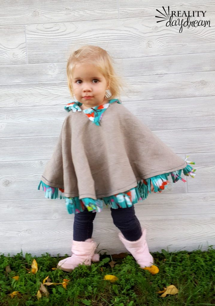 Fleece-lined Hooded Poncho for Toddlers, so cute and I could make it for all 3 kids. Would be great to figure out how to use a sewing machine.