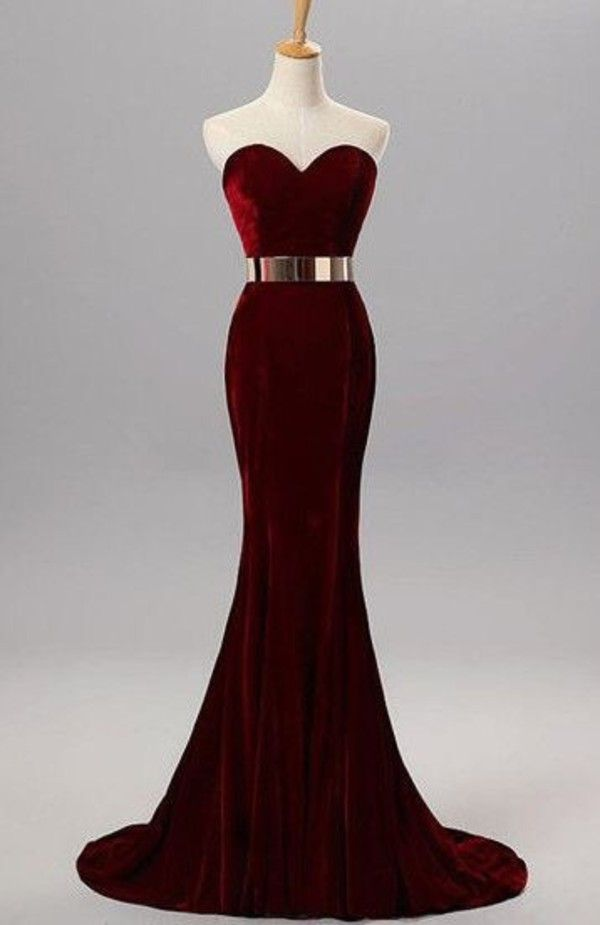 Burgundy Mermaid Sweetheart Evening Gowns With Belt Velvet Simple Formal Occasion Dress on Luulla