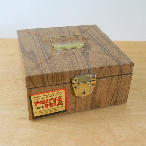Vintage Faux Bois Porta File  Wood Grain Metal File Box