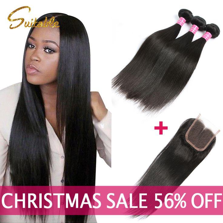 7A Virgen del Pelo Brasileño Recto Con Cierre Queen Hair Products Armadura brasileña Del Pelo Humano 3 o 4 bundles Con El Cordón cierre