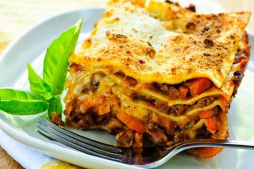 Lasagne con zucca e gorgonzola.