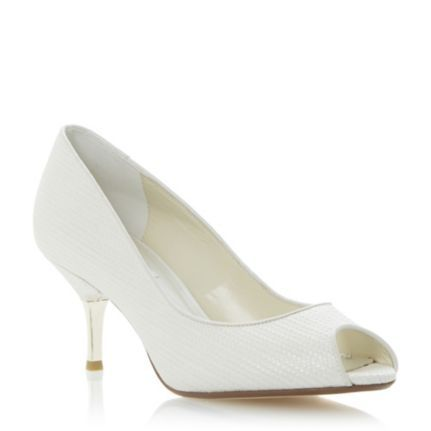 DUNE LADIES Neutral DECORA - Woven Peep Toe Mid Heel Court Shoe | Dune Shoes Online