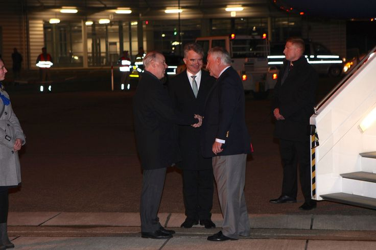 https://flic.kr/p/SapZin | Secretary Tillerson is Greeted by U.S. Embassy Berlin Chargé d'Affaires Logsdon and German Deputy Chief of Protocol Konrad Arz Von Straussenburg Upon Arrival at the Cologne Bonn Airport | U.S. Secretary of State Rex Tillerson is greeted by U.S. Embassy Berlin Chargé d'Affaires Kent Logsdon, left, and German Deputy Chief of Protocol Konrad Arz Von Straussenburg upon his arrival at the Cologne Bonn Airport on February 15, 2017, to participate in the G-20 Foreign…
