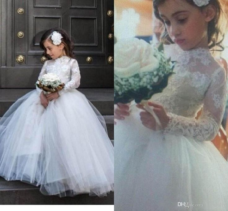2017 Little Flower Girl Wedding Dresses With Long Sleeves Lace Kids Girls Lace Pageant Wedding Gowns White First Communion Dresses For Party Little Girl Dresses For Weddings Little Girls Dresses For Wedding From Faithfully, $70.36| Dhgate.Com
