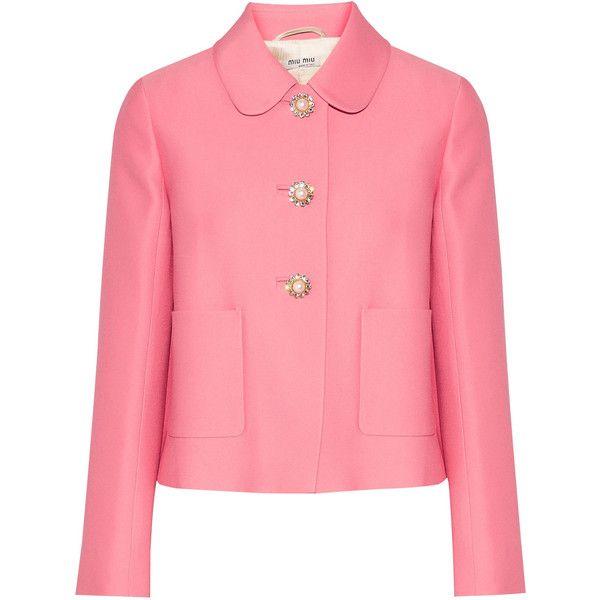 Miu Miu Cropped embellished crepe jacket ($1820) ❤ liked on